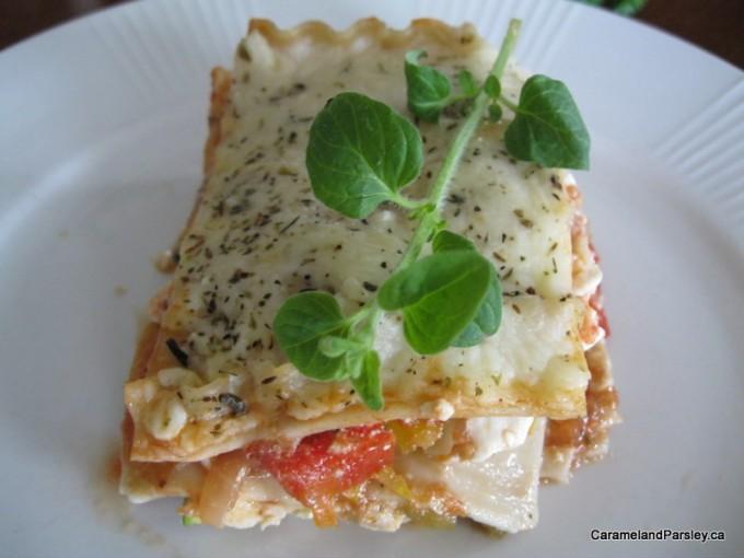 Vegetarian lasagne with fresh and dried oregano