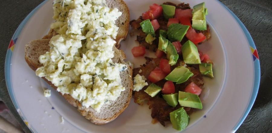 Tasty omelette & avocado salad ~ a light, easy option