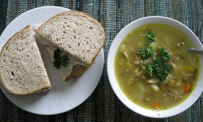 Simple sandwich and soup - for lunch or dinner