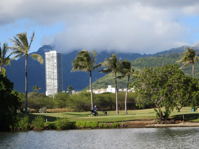 Golf course close to Waikiki by Ala Wai Canal