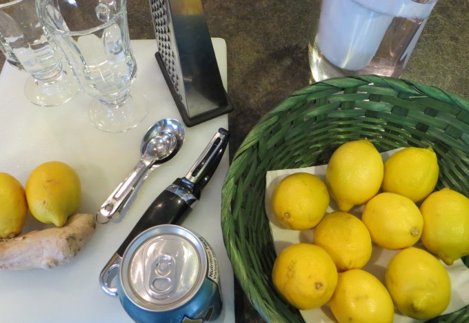 Getting set up to make Fresh Lemon & Ginger tea