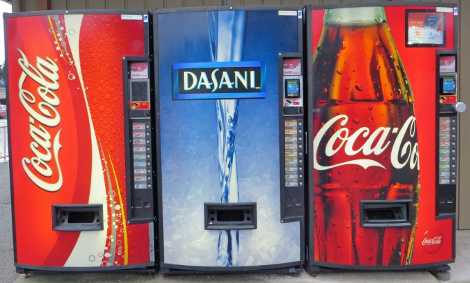 Soft drinks & bottled water vending machines readily available in public places