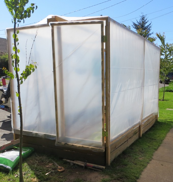 Where there is a will - Nature strip greenhouse was being constructed at the front of a house, Bellingham USA