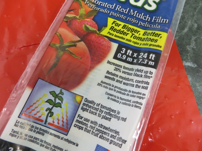 Red mulch plastic film - first time try in our new shade garden