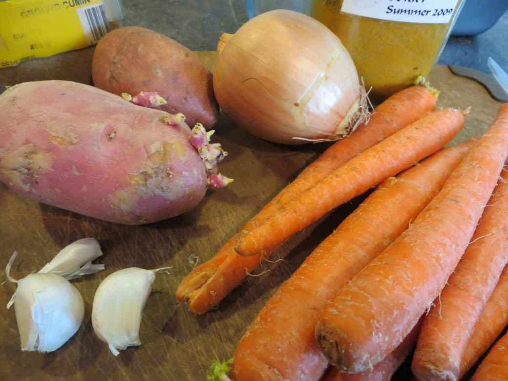 Ingredients for creamy low fat curried carrot soup minus the apple!