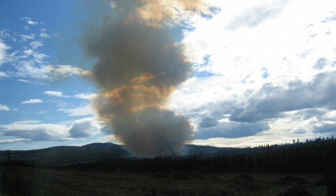 Out of control slashburn wildfire in previously logged area - northern B.C. 2006