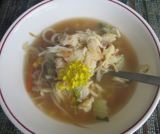 Udon noodle soup with Dungeness Crab