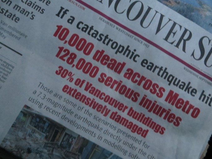 Mock headlines of catastrophic earthquake in Vancouver, B.C.