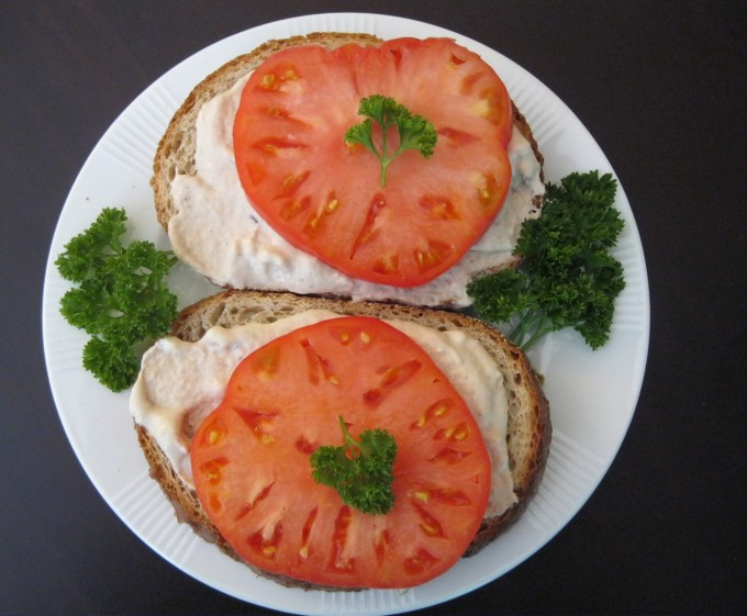 Add a simple cream cheese and tomato on rye sandwich