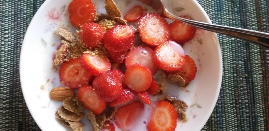 Just picked strawberries for breakfast