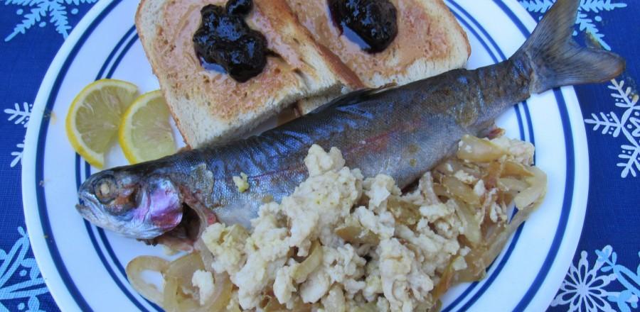 Fish, scrambled eggs (whites) & toast