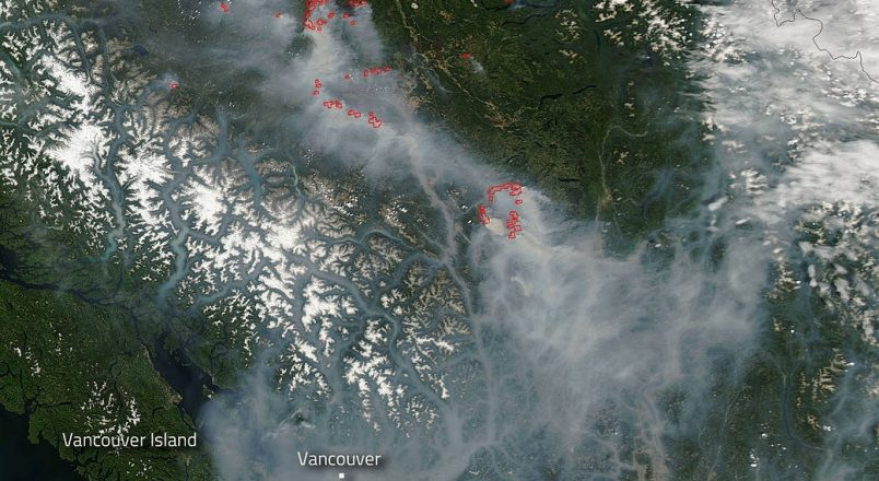 NASA image of BC wildfires, August 2017