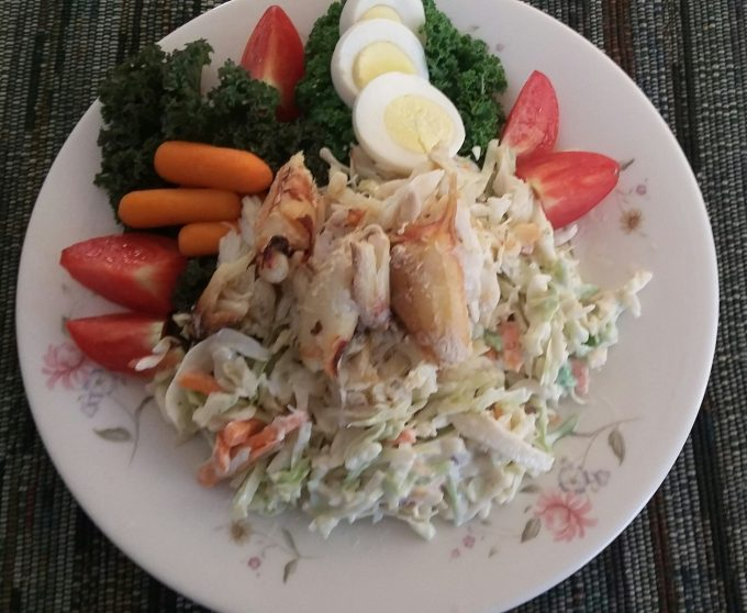 Crab slaw, eggs, veggies