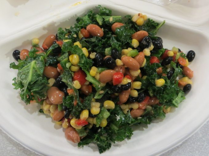 Kale & 2 Bean salad & corn, peppers