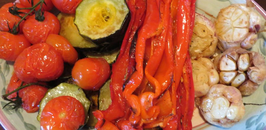 Roast peppers, garlic etc