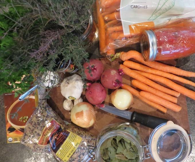 Organic veggies & ingredients for tasty chicken soup