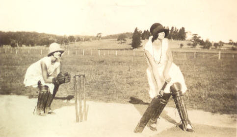 Mum & her sister playing cricket - 1920's